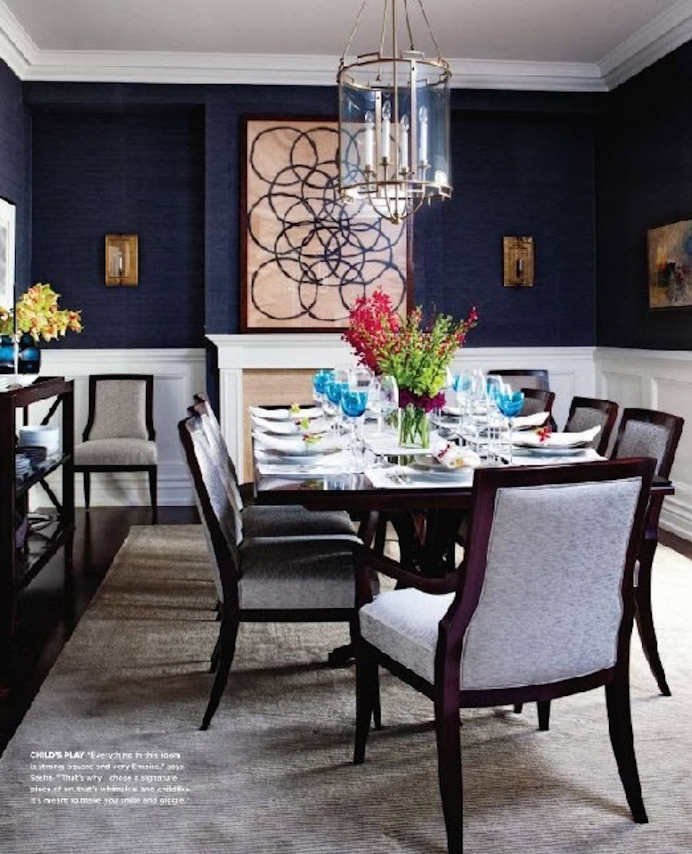 Navy grasscloth, yes please! Dining Room inspiration