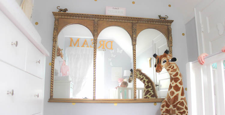 large mirror in tiny nursery