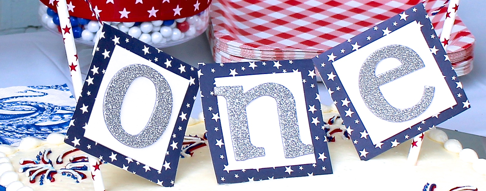 DIY Cake Topper for A Red, White & Blue First Birthday Party - Shining on Design