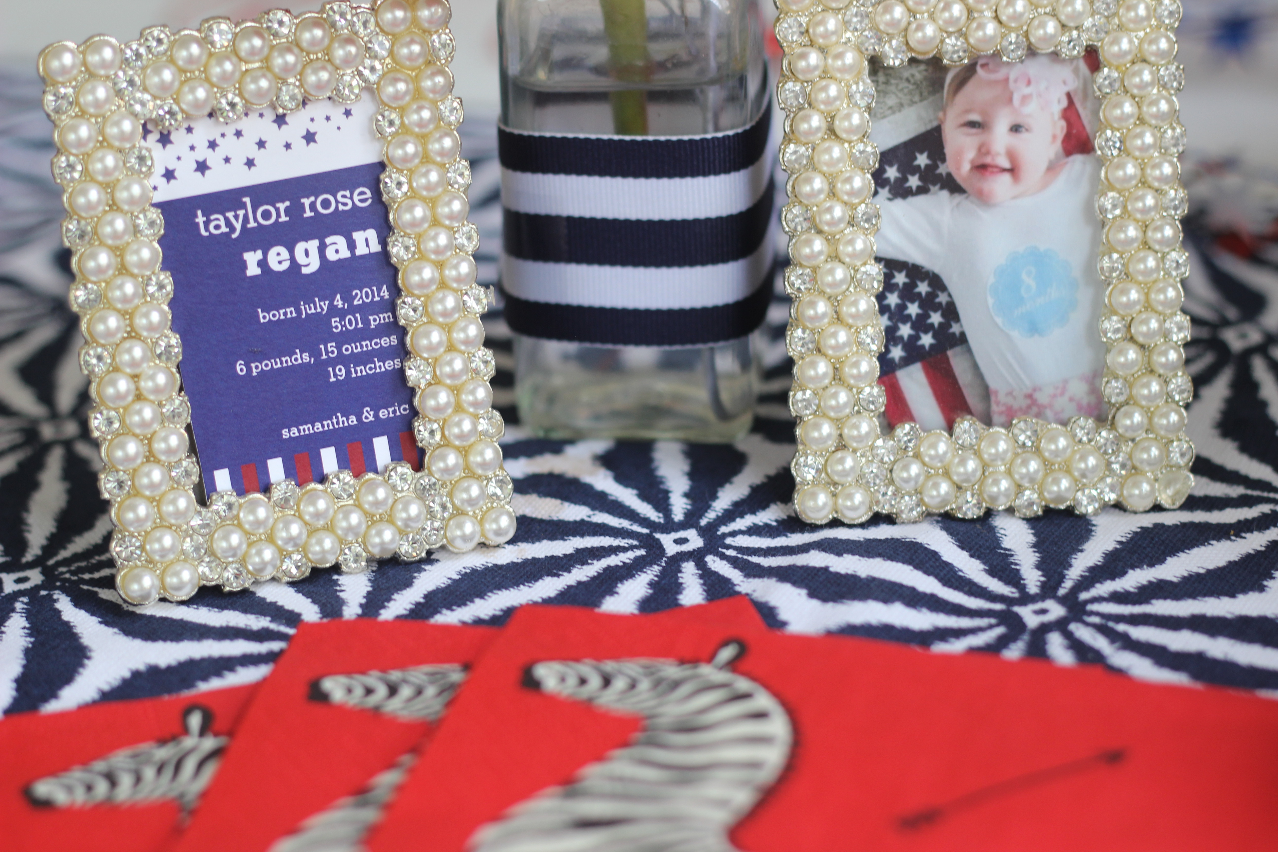 First Birthday Party Decor - Framed snippet of Taylor's birth announcement