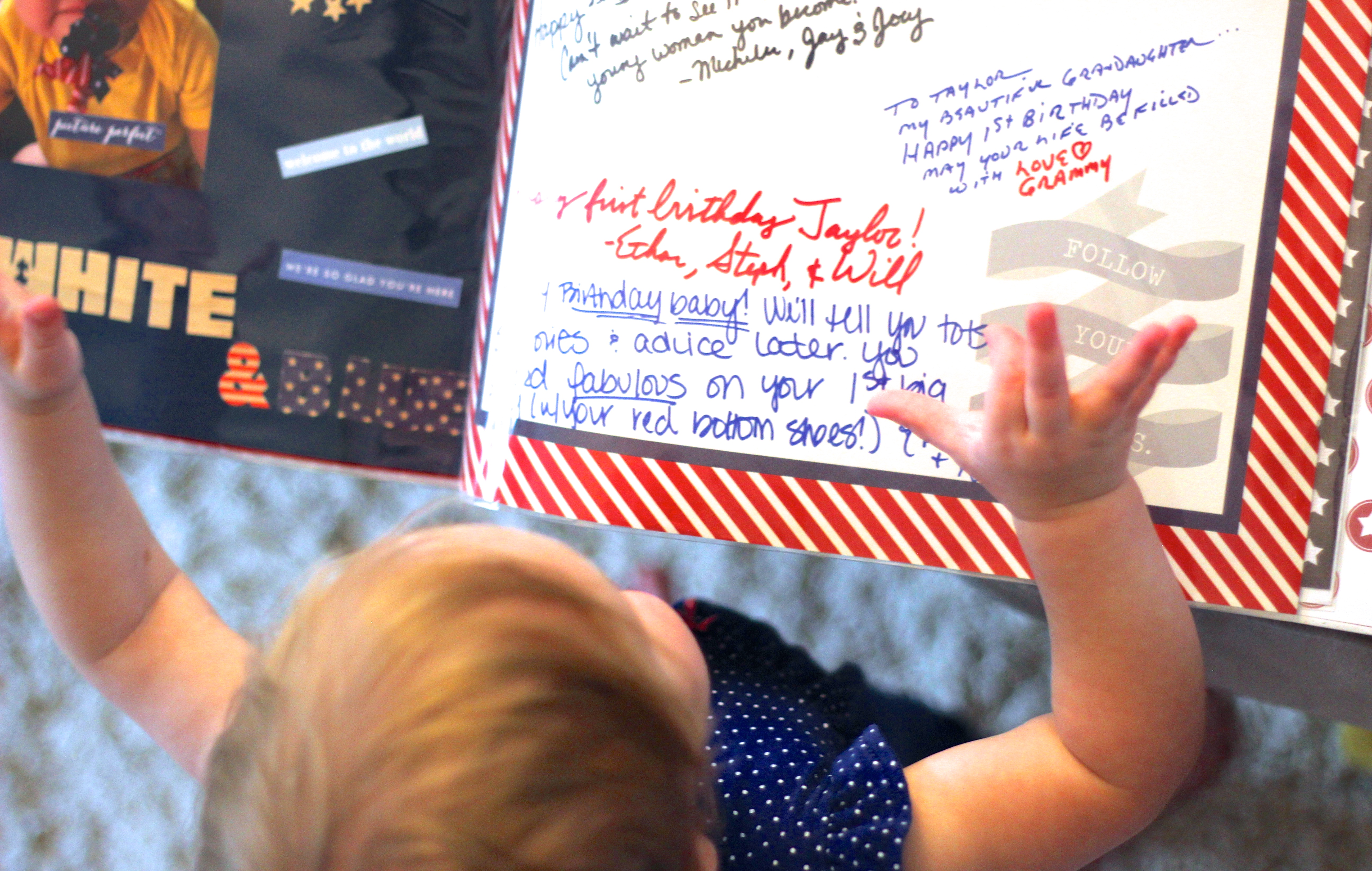 Scrapbook and Guest Book for A Red, White and Blue 1st Birthday Party - Shining on Design