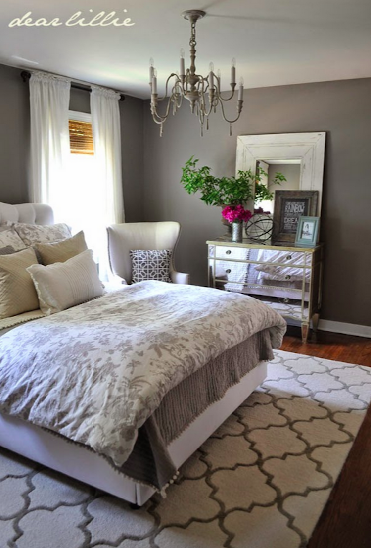 dear lillies guest bedroom i love the gray and white with a mix of patterns - Redesign My Bedroom