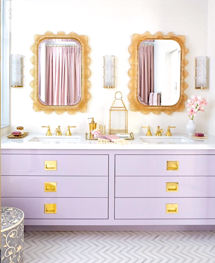 lavender cabinets in bathroom