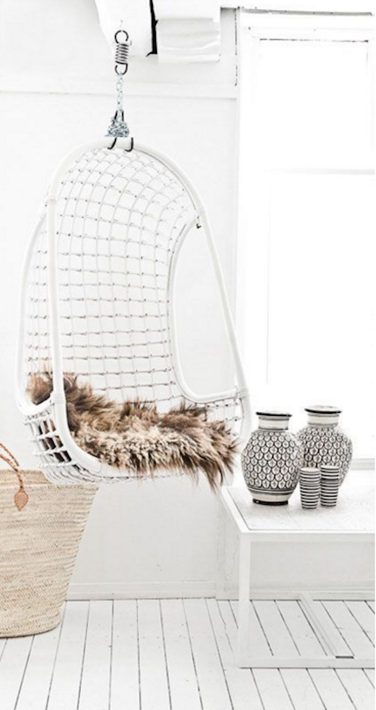 white rattan indoor hanging swing