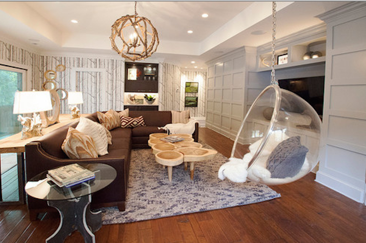 bubble hanging chair in living room