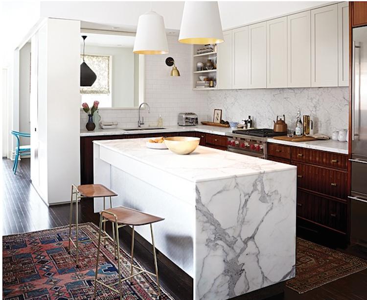 marble waterfall kitchen island counter | Shining on Design