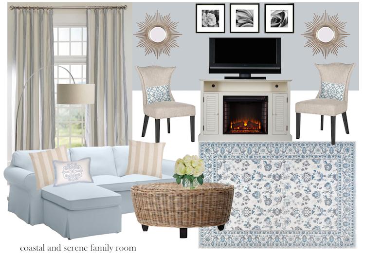 coastal and serene living room design