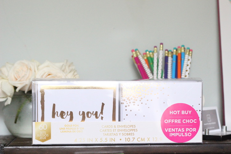 Notecards - HOT BUY (just take a look at the labeling ;) But seriously, they are. 60 gold foil notecards and envelopes for only $5.99.