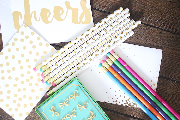 Do you ever walk into a store for one thing and end up buying 10 things you didn't plan on? These deals I could not pass up! I found these adorable pencils, push pins and notecards that look like something Kate Spade designed, yet cost a fraction of the price.