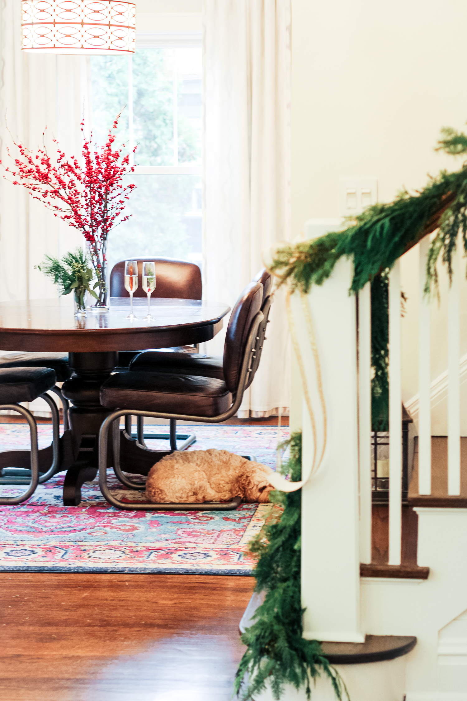 Rearrange Furniture - A lot of us have to move furniture around anyway to make room for a Christmas tree, but why not do it for fun? Sometimes a little rearranging can give a room a whole new look! Also, think about seating arrangements when entertaining. Will you need to borrow chairs from the dining room? Think about where people will gather and make sure there's a space for everyone!