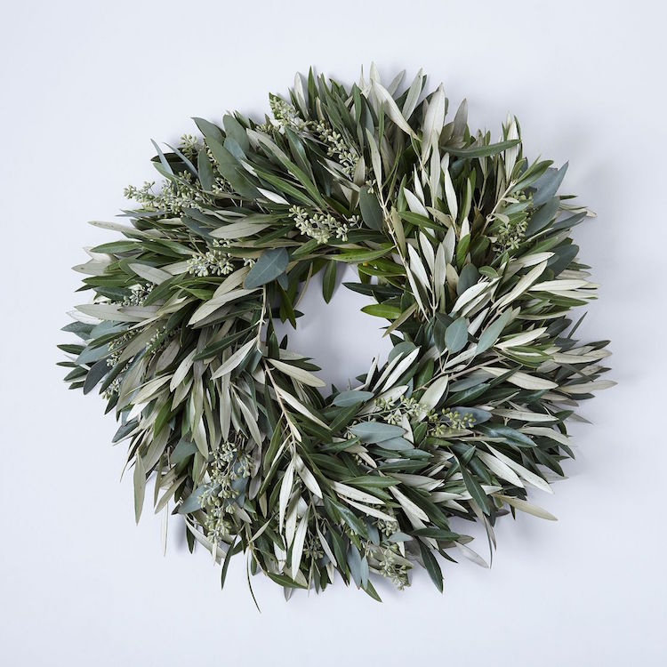 Olive & Eucalyptus Wreath is SO beautiful. You can hang this one by itself or add a ribbon for an extra touch. See more of my favorite wreaths this year on the Holiday Wreath Round Up!