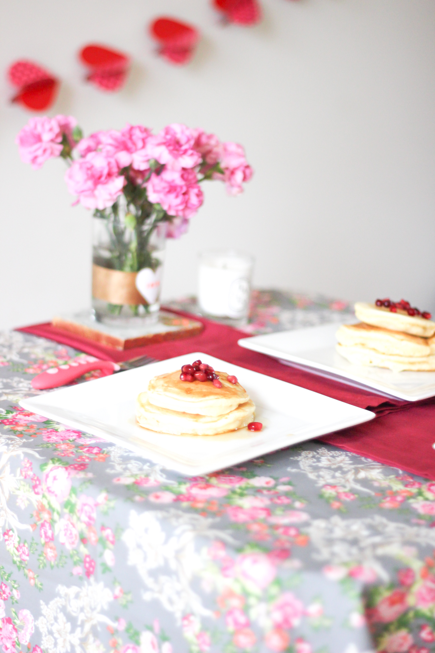On the menu: Pancakes with a little maple syrup and Taylor's favorite, pomegranates. If you look at Taylor's face, she was clearly happy with this little spread!