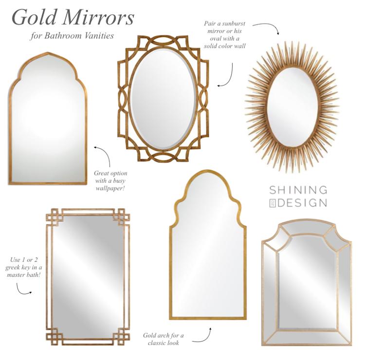 Gold Mirrors For Bathroom Vanities Shining On Design